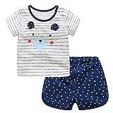 Bebone Conjunto de Bebe Ninos Camiseta Manga Corta+Pantalon Corto Para Verano(Azul,3anos)