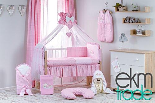 Set: Weiß 120x60 cm Babyrbett mit Bettwäsche und Schaum Matratze Gratis Himmel Gitterbett Kinderbett ekmTRADE (Pink) ()
