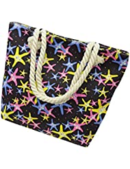Bolso a bandolera Clode® Moda Mujer aleatorio Print Canvas Bolso Simple hombro Messenger bolsa negro Colour : Nero Medium