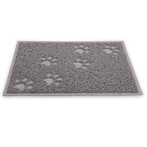 Gluckliy Paw PVC Pet Dog Cat Feeding Mat Dish Bowl Food Water Placemat Mat Pad Rectangle, 40x30cm (Grey)