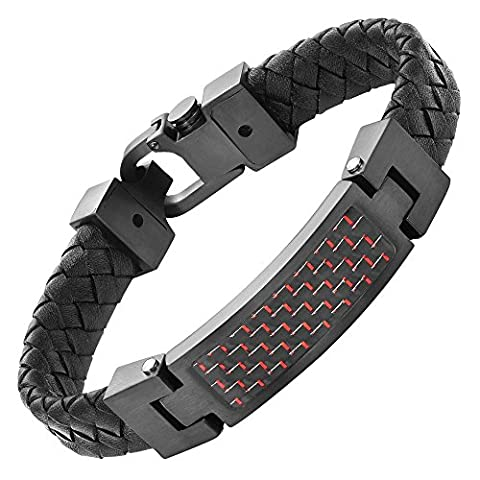 Willis Judd Mens Black Leather Bracelet And Red Carbon Fibre with Gift Box