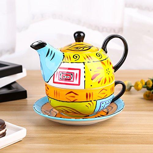 Artvigor Tea for One, Porzellan Tee Set, 4-Teilig Kaffeeservice, Mehrfarbig