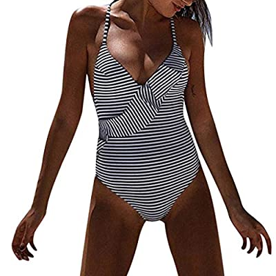 Yvelands Einteilige Bikini Set Damen Rüschen Bikini gestreiften Badeanzug Bademode Bade Beachwear