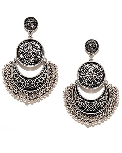 Young & Forever Tribal Muse Antique Silver Designer Moon Chandbali Earring For Girls Women E233