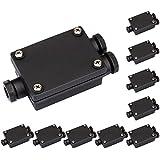 Parlat - Juego de 10 cajas de conexión impermeables para exterior (diámetros de cable de 6 a 8 mm, IP68, 3 pines), color negro