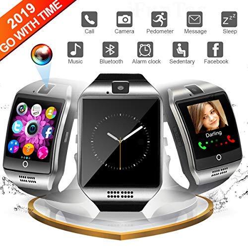 Smartwatch, Bluetooth-Uhr Smart mit Kamera-Touchscreen-Telefon mit SIM-Kartensteckplatz Smart Armbanduhren Fitness Tracker Strap-Uhr Kompatibel für Android Samsung Huawei Smartphone