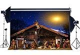 Sunny Star - Fondo de Vinilo para el Nacimiento de Jesús, 182,88 x 152,88 cm, diseño de Pastor de ovejas en el Campo, Ideal para Navidad y Año
