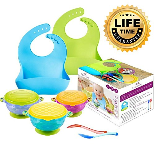 Cosy Living Baby Feeding Set. 3 Baby Suction Bowls. Spill Proof with Snap Tight Lids. Plus 2 Silicone Easy Clean, Wipe Dry Bibs, and 2 Colour Change Spoons. The Perfect Solution For Baby Food, Travel and Storage. Easily Stackable and FDA approved. 516leq29EiL