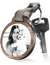 """schenkYOU Schlüsselanhänger aus Holz """"Für die beste Mama der Welt"""" mit rückseitiger Fotogravur"""