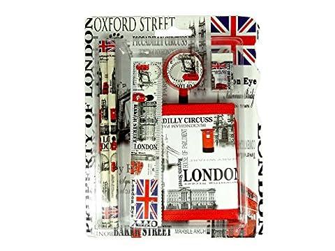 Back To School Geschenk Set–London Icons und Namen bedruckt Geschenk Set mit Bleistift, Lineal, Radiergummi und Geldbörse–London Souvenir