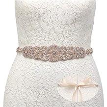 SWEETV Boda Vestido Faja Cintura Cinturón Cinta de Raso de Brillantes Diamantes de Imitación de Novia