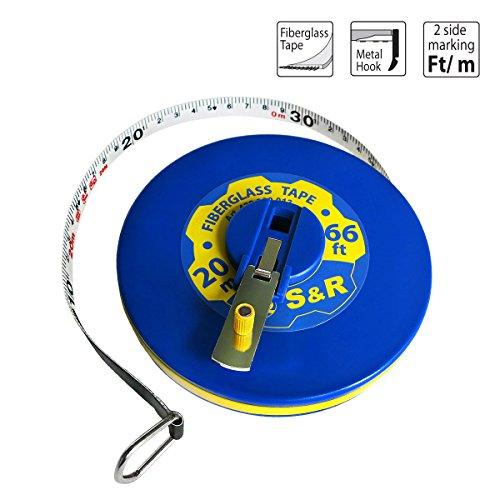 S&R Bandmaß Fieberglas 20m/66 Ft, Breite 13mm, Rollmassband METER und ZOLL doppel Seiten markiert, Kapselbandmass (S/s Bandbreite)
