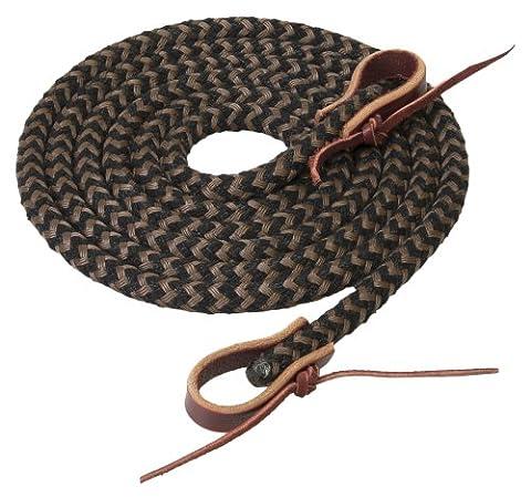 Weaver Leather Silvertip Horseman's Braid Trail Rein, Black/Brown, 1/2-Inch x 10-Feet