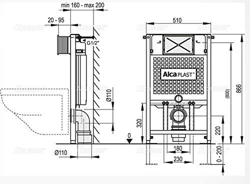 WC Vorwandelement für Trockenbau 85 cm inklusive Betätigungsplatte Chrom Matt Typ Trapez Unterputzspülkasten Spülkasten Wand WC hängend Schallschutz