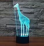 SANVA Kreative 3D LED Lampe Farbwechsel Stimmungslichter,Licht wechseln in 7 Farben & konstantes Licht leuchtet in eine Farbe-Zwei Lichtmodus einstelltbar mit Touch-Taste, produziert einzigartige Lichteffekte und 3D-Visualisierung erstaunliche Optische Täuschung, USB-Stromversorgung, dekorative Leuchten Nachlichter Schreibtischlampe mit USB Kabel für Zimmer feiertags Party Geburtstag Geschenk (Giraffe)