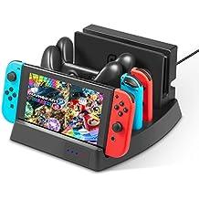 Soporte de carga para Nintendo Switch – Younik base de carga vertical con indicadores LED y cable USB del tipo C para la consola Nintendo Switch, controles Joy-Con y el control Pro
