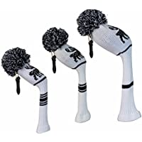White Color With Black Deer Pattern Knitted Golf Headcovers Set