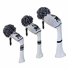 Idea Regalo - Cervo modello a maglia bianco color Kids Golf Headcovers, set di 3, per driver/fairway/ibrido