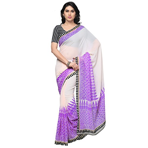 Kashvi Sarees Bhagalpuri Silk Purple & Multi Color Printed Saree With Blouse Piece ( SSC061_4 )  available at amazon for Rs.229