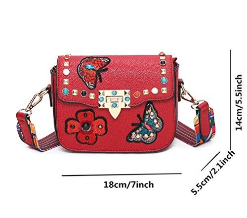 Honeymall Damen Schmetterling Stickerei Kleine quadratische Tasche Damentasche Schultertasche Umhängetasche bunte Nieten(Grün) Rot