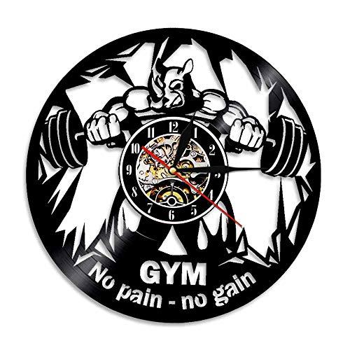 1 Stück Verdienen Vinyl Uhr Fitness Wanduhr Fitness Vinyl Disc Decor Wandkunst Bodybuilding Liebhaber Geschenk Handgemacht ()