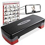 POWRX Steppbrett für zuhause inkl. Workout I Stepper höhenverstellbar und rutschfest für Aerobic, Gymnastik und Fitness I Home Step Stepbench