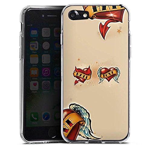 Apple iPhone X Silikon Hülle Case Schutzhülle Liebe Hass Herz Silikon Case transparent