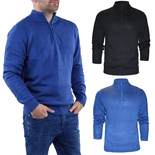 STALLION HERREN ZIP NECK PULLOVER: Merino Base Layer Strickpullover Sweatshirt Golf Baumwoll Sweater für Männer ( Farbe : Schwarz , und Blau / Größe : L , XL & XXL) (Blau, XX-Large) (Strickpullover Golf)