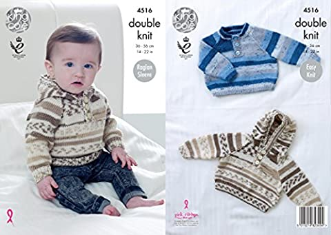King Cole 4516 Knitting Pattern Baby Sweater and Hoodie with Raglan Sleeves to knit in Cherish DK