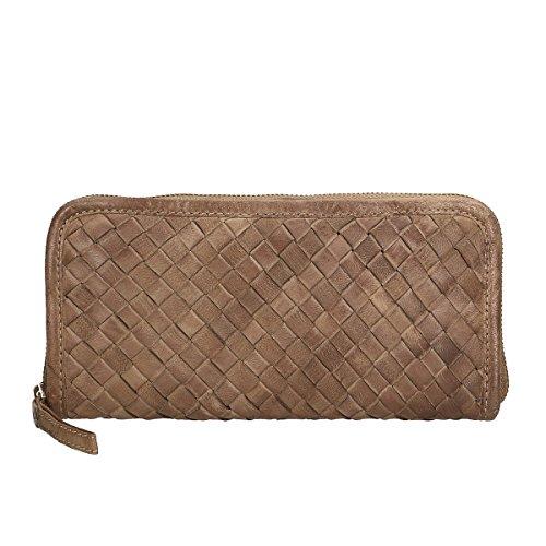 Chicca Borse Portafogli in pelle 22x12x3 100% Genuine Leather Moka