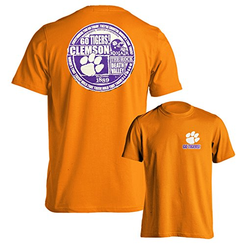 Southland Graphics Apparel Clemson University Tigers Scrapbook Erwachsene Short Sleeve T-Shirt, Herren Damen Unisex, Orange, Small
