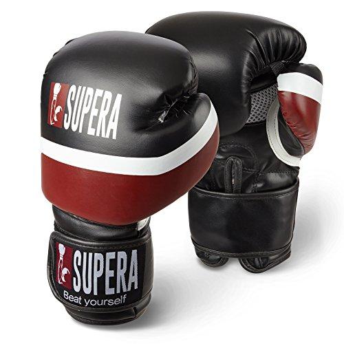 Supera Boxhandschuhe 10oz. Box Handschuhe für Kickboxen, Boxen und MMA. Handschuhe aus hochwertigem Kunstleder. (rot) -