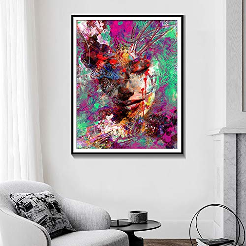 tzxdbh Acquerello Astratto Ritratto Wall Art Poster E Stampe Decorazioni per La Casa Pittura A Olio Arte Moderna Pittura su Tela Without Fram