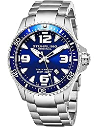 Stuhrling Original Blue Dial Professional Divers Watches for Men Collection Swiss Quartz 200 Meter Water Resistant Solid Stainless Steel Bracelet Screw Down Crown Designers Sport Dress Watch