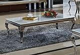Couchtisch Wohnzimmertisch Luxus Aura 100 x 100 x 42 cm Weiß Barock stil Tisch rokoko Wohnzimmer Chrom Edelstahl weiss (Weiß Glas)
