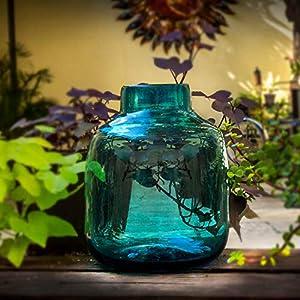 Glasmanufaktur Mitienda, Vase aus Glas, blau aqua, 25 cm Höhe, Dekovase, Blumenvase, mundgeblasene Vase aus Mexiko, Glas-Recycling