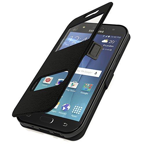 Flip Cover Handytasche Tasche Samsung Galaxy S7 SM-G930F SM-G930 Schwarz Bookstyle Case Wallet Etui Magnettasche + Gratis Displayschutzfolie Panzerfolie Original q1® Markenware