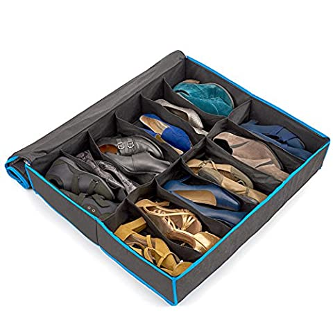 EZOWare Underbed Fabric 12 Cell Shoe Storage Organiser Box w/ Zipper Cover- Black