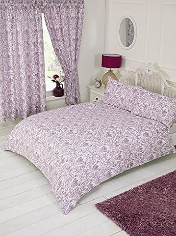 Lit double Annette Prune, Housse de couette Parure de lit, par My Home, Damas Motif floral, Aubergine Mauve Violet