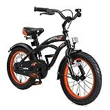 BIKESTAR Premium Sicherheits Kinderfahrrad 16 Zoll für Jungen ab 4-5 Jahre ★ 16er Kinderrad Cruiser ★ Fahrrad für Kinder Schwarz (matt)