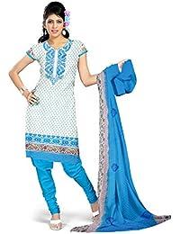 Eshaana Fashions Blue Cotton Embroidered Semi-stitched Salwar Suit With Chiffon Dupatta