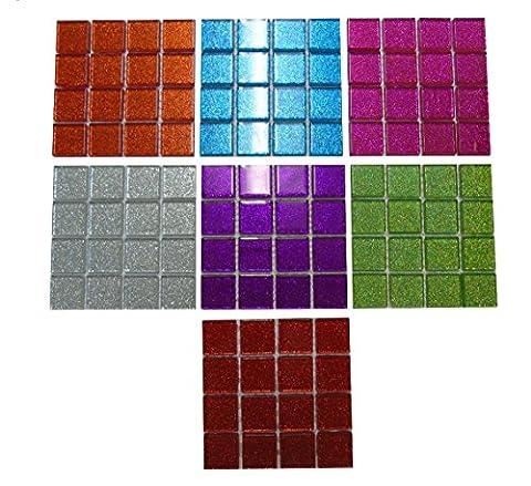 224 Pieces Glitter Glass Mosaic Tiles Arts Crafts Multi Colour Selection