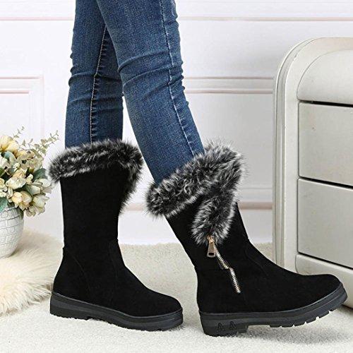 Bottes et boots,Transer®Mode femmes fourrure bottes plat chaud d'hiver moyen Long raquettes Noir