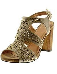 Angkorly Chaussure Mode Sandale Escarpin Lanière Cheville Femme Clouté  Strass Diamant Bois Talon Haut Bloc 10 a3286cd59873