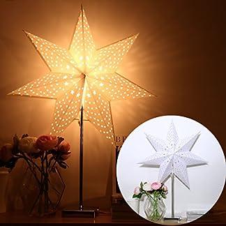 YUNLIGHTS-Papierstern-Lampe-Leuchtstern-Weihnachtsstern-Lampe-Weihnachtsdekoration-Stern-Stehleuchte-Stehlampe-7-Zacken-67cm-mit-2-Stck-Lampenschirm