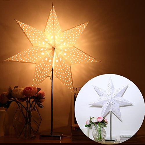 YUNLIGHTS Papierstern Lampe Leuchtstern Weihnachtsstern Lampe Weihnachtsdekoration Stern Stehleuchte Stehlampe 7 Zacken 67cm mit 2 Stück Lampenschirm