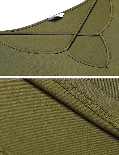 Meaneor Damen Große Größen T-Shirt Ausgestelltes Langes Top V-Ausschnitt Kurze Ärmeln XL-4XL Armeegrün