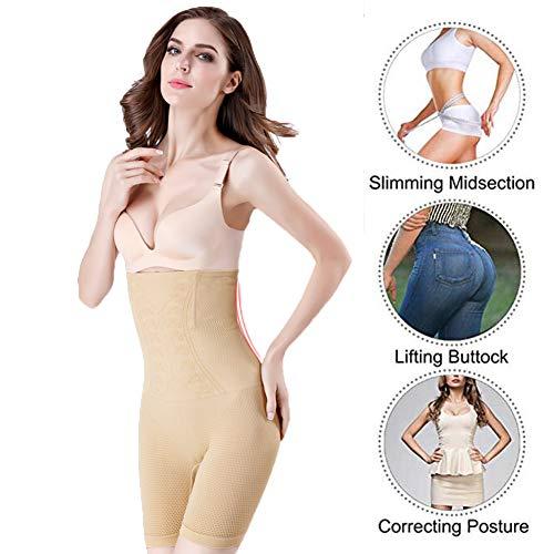 Biddtle Shapewear Damen Miederhosen Bauch Weg Figurformender Hohe Taille Push Up Miederslip Miederpants Body Shaper,Beige,XL - 2