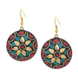 ROUND FLORAL INLAY DROPS IN RED AND TURQ...