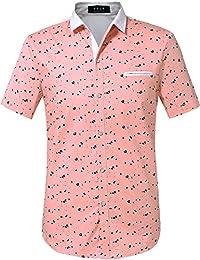 SSLR Camisa para Hombre Manga Corta Casual Estampado de Flores